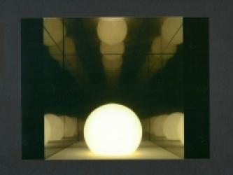ALEPH VETRO, PELLICOLE PLASTICHE, LUCE ARTIFICIALE, ACCIAIO, SPECCHIO 21x21x42cm