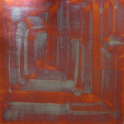 Foglia di rame su tela 50 x 50 cm